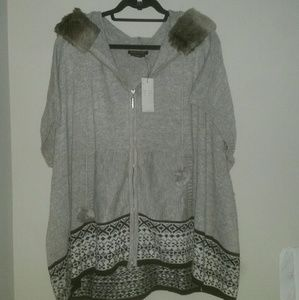 BCBGMaxAzria Fair Isle Fur Hooded Cardigan  L/XL